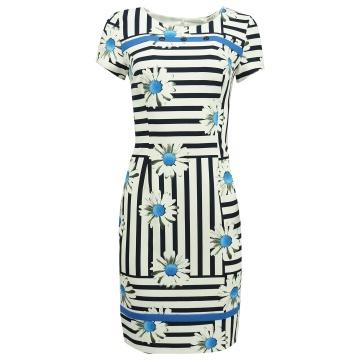 Biała sukienka w niebieskie...