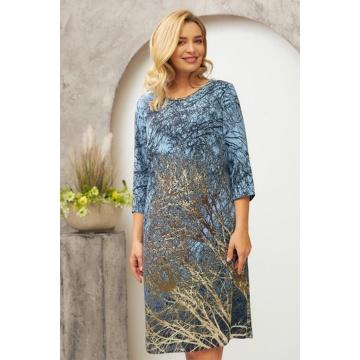 Błękitna sukienka we wzory,...