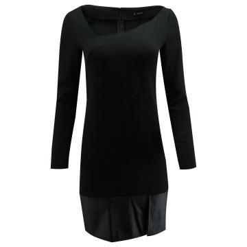 Czarna sukienka z eko-skórą