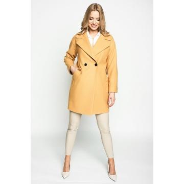 Żółty płaszcz damski z...