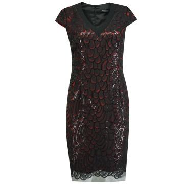 Czarna sukienka z czerwoną...
