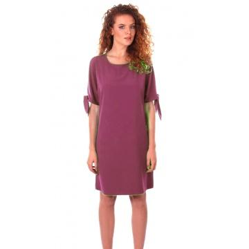 Amarantowa luźna sukienka z...