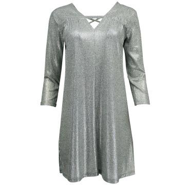 Srebrna wygodna sukienka  z...