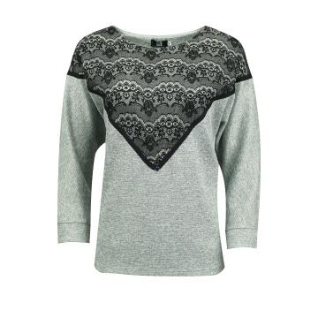 Szary luźny sweter damski z...