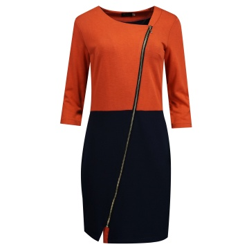 Granatowo-ruda sukienka...