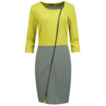 Żółto-szara sukienka z...