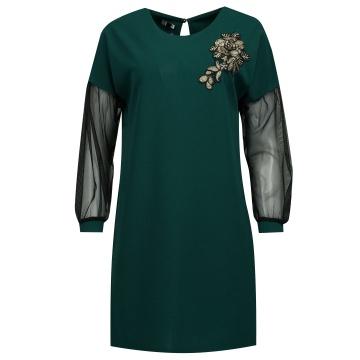 Zielona sukienka z czarnym...
