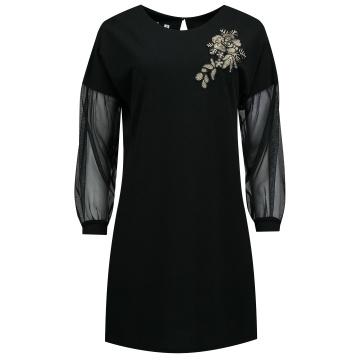 Czarna sukienka z tiulowym...