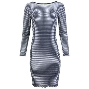 Granatowa sukienka w kratkę