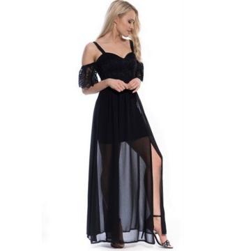 Czarna maxi sukienka z...