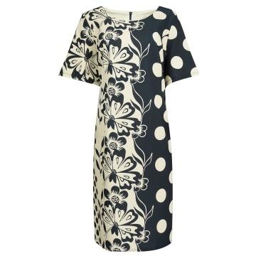 Granatowa sukienka z wzorem...