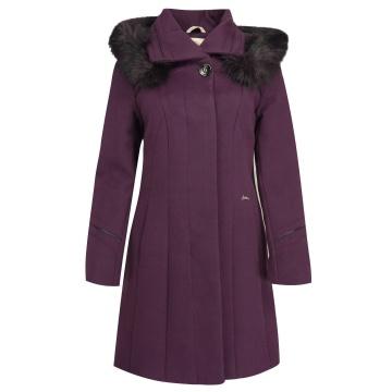 Śliwkowy zimowy płaszcz...