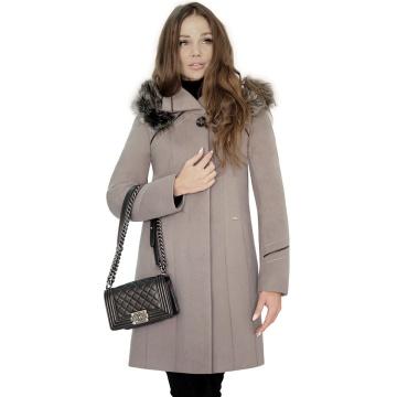 Szarobrązowy zimowy płaszcz...