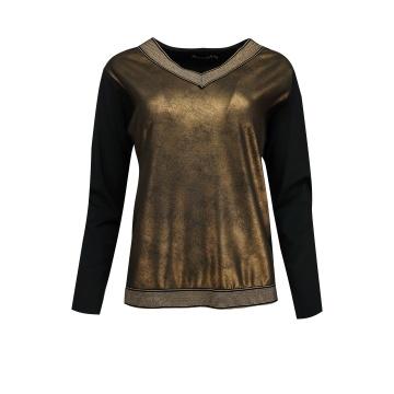 Czarno-złota bluzka damska