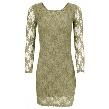 Beżowa sukienka z koronki...