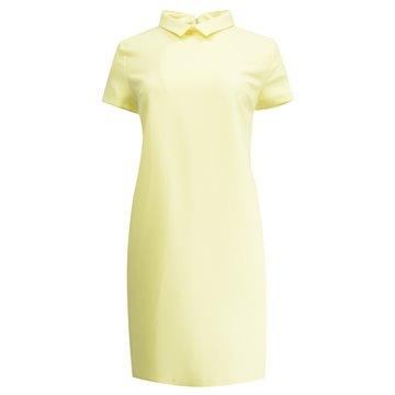 Sukienka kołnierzykiem żółta