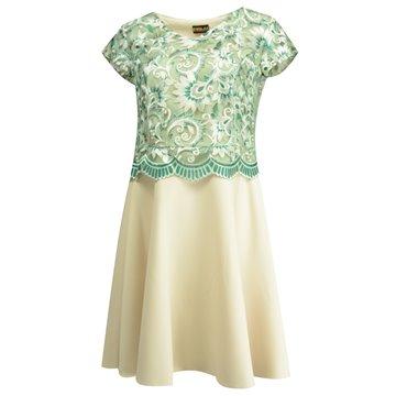 Sukienka gipiurą zielono-beżowa