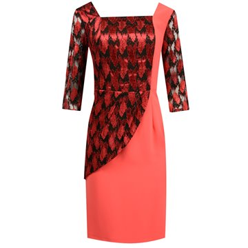 Sukienka malinowa koronką