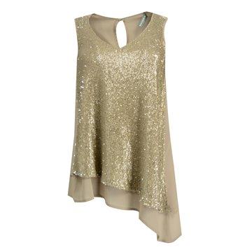 Bluzka damska model Talina beżowo-złota