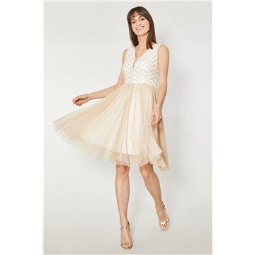 Sukienka wizytowa model Apodi beżowo-złota