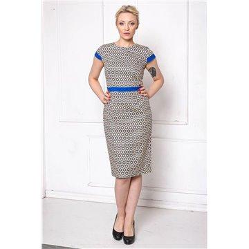Sukienka FAB-9020 niebieskie wzory