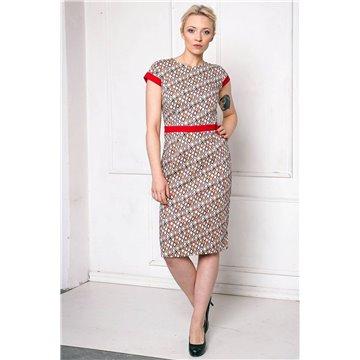 Sukienka FAB-9019 czerwone wzory
