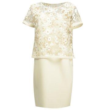 Sukienka wizytowa model Frezii kremowa