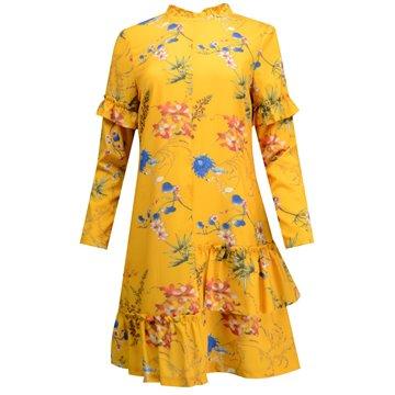 Sukienka musztardowa w kwiatki