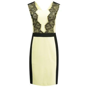 Sukienka wizytowa Asum czarno-żółta