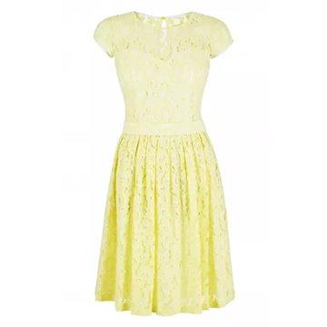 Sukienka wizytowa żółta koronk