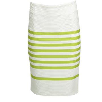 Spódnica biała zielone paski 82143