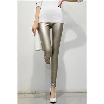 Spodnie damskie legginsy złote metaliczne