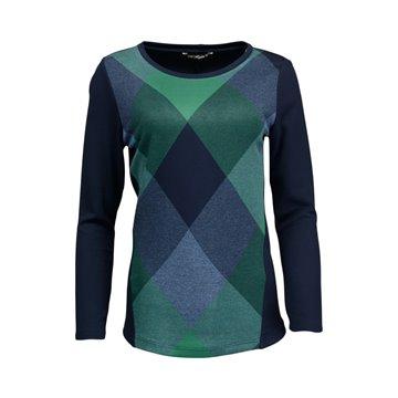 Granatowa bluzka damska w geometryczne wzory 1077