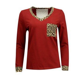 Bordowa bluzka damska lamparcimi wzorami 1075