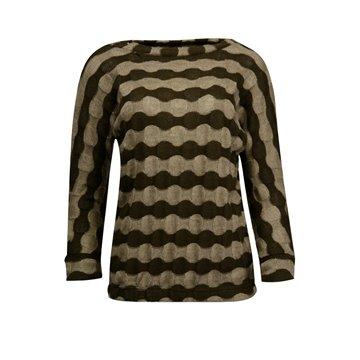 Brązowy sweter damski w pasy
