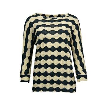 Granatowy sweter damski w beżowe pasy