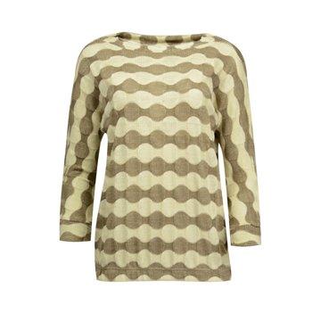 Brązowy sweter damski w beżowe pasy