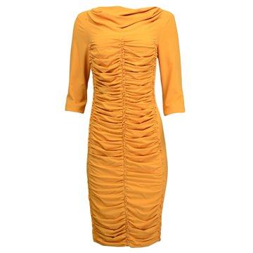 Miodowa sukienka marszczeniami Irmina