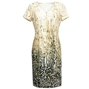 Kremowa sukienka w lamparcie wzory Delli