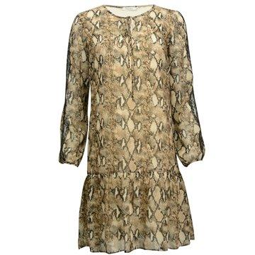 Zwiewna brązowa sukienka falbaną Asia