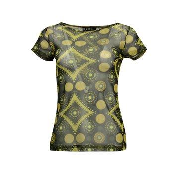 Zwiewna bluzka damska w zielone wzory