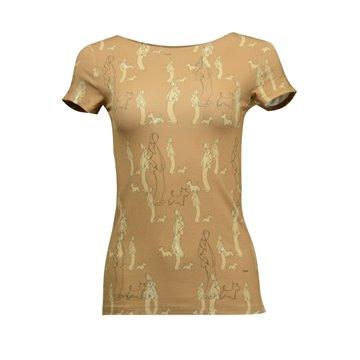 Brązowa bluzka damska we wzory pieski