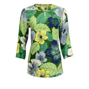 Zielona tunika damska we wzory kwiatowe