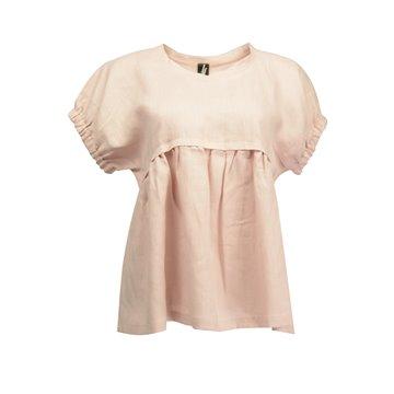 Różowa luźna bluzka damska 100 % len