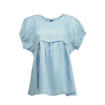 Niebieska luźna bluzka damska 100 % len
