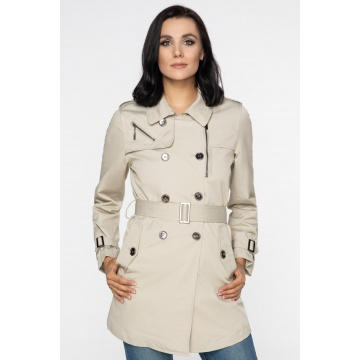 Beżowy płaszcz damski Zuza