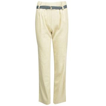 Beżowe spodnie damskie z lnem