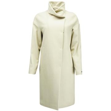 Kremowy płaszcz damski z wełny