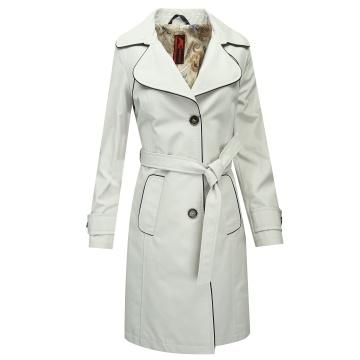 Kremowy płaszcz damski z...