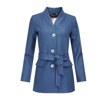 Granatowy krótki płaszcz...